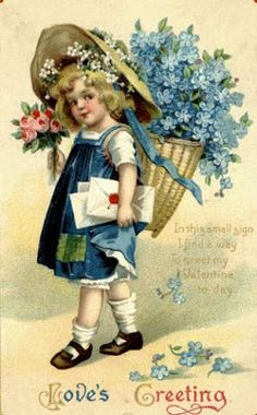 antique postcard with girl carrying basket of flowers