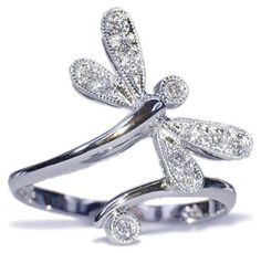 14K White Gold Diamond Dragonfly Ring .11 carats please click image(s) to enlarge