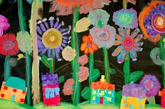 Group Mural - Oil pastels, paint and collage? Mexican Flower Murals with Mexican Houses