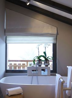 Angled roman blind (fiona barratt): with their neat folds when fully raised, roman blinds are one of the most popular styles of blind. Even though roman blinds are a little more complicated to make than curtains, they are generally much cheaper than curtains. Great idea for those tricky window shapes!