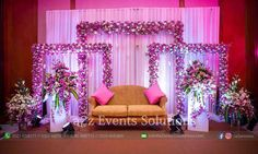 Pink shade is perfect for your romantic stage setup wedding decorations stage Beautiful backdrop for indoor weddings Reception Stage Decor, Wedding Backdrop Design, Desi Wedding Decor, Wedding Hall Decorations, Wedding Stage Design, Wedding Reception Backdrop, Wedding Mandap, Wedding Receptions, Wedding Ideas