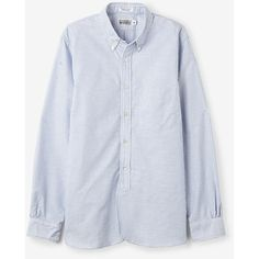 ENGINEERED GARMENTS WORKADAY 19th Century Blue Candy Stripe Button... (€160) ❤ liked on Polyvore featuring mens, men's clothing, men's shirts, men's casual shirts and blue
