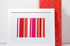 Orange Pink and White Striped Fabric Art Modern by HayOhStudio