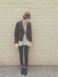 Blanc Noir Leather Jacket, Jeffrey Campbell Ankle Booties