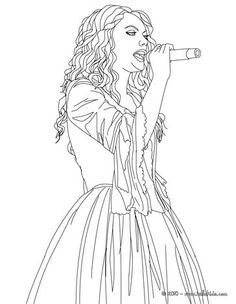 Taylor Swift singing close up coloring page