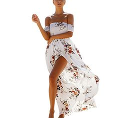Suroomy Long Floral Off Shoulder Beach Dress Maxi Slit Party Dresses White XL ** Click image for more details.-It is an affiliate link to Amazon. #WeddingDress