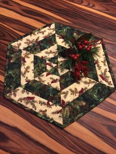 Rustic Christmas Quilted Centerpiece Table by Heathersquaintquilts