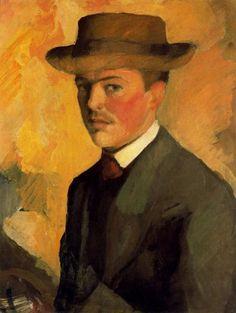 August Macke, selfportrait. (3 de febrero de 1887 – 26 de septiembre de 1914) fue uno de los principales miembros del grupo expresionista alemán Der Blaue Reiter (El Jinete Azul). Vivió durante un período especialmente innovador del arte alemán, con el desarrollo del Expresionismo y la llegada de los sucesivos movimientos de vanguardia que estaban apareciendo en el resto de Europa.