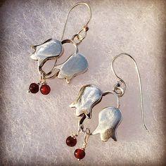 Red Garnet Earrings Dangle Flower Earrings by rioritajewelry