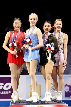 Mirai Nagasu, Bradie Tennell, Karen Chen and Ashley Wagner pose on the medals podium after the Championship Ladies during the 2018 Prudential U.S. Figure Skating Championships at the SAP Center on January 5, 2018 in San Jose, California. (Jan. 4, 2018 - Source: Matthew Stockman/Getty Images North America)
