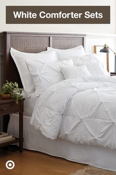 Create a dreamy retreat with white comforters & bedding ideas that use neutral decor for guest or master bedrooms.