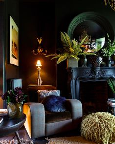 London's Hottest Interior Designer Abigail Ahern Reveals Her Top Decorating Tips. London's Hottest Interior Designer Abigail Ahern Reveals Her Top Decorating Tips - interior design Dark Living Rooms, Home And Living, Living Room Decor, Modern Living, Dining Room, Black Living Room Furniture, Bedroom Furniture, Dark Bedrooms, Dark Furniture