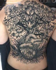 black and grey tattoo espalda / black and grey tattoo espalda Floral Back Tattoos, Cool Back Tattoos, Back Tattoos For Guys, Tribal Sleeve Tattoos, Tattoos For Kids, Sexy Couple Tattoos, Phoenix Tatto, Back Tattoo Women Full, Backpiece Tattoo
