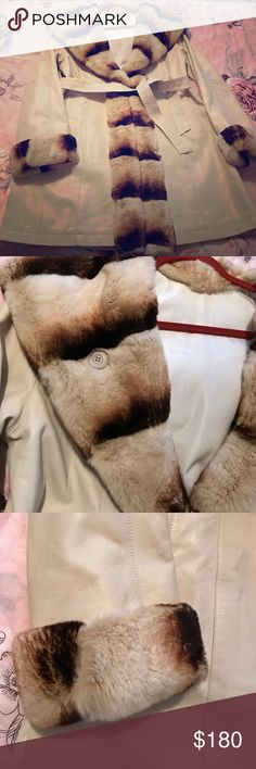 """Reversible Leather and Rex Rabbit Fur Coat Lined L This is about 21-22"""" pit to pit and can fit a large size 10/12. It is an amazing Coat and I do have the receipt somewhere from the furrier. The fur is so soft you won't believe it. Leather feels like Lambskin buttery soft. Great versatile piece for the wardrobe. Too big for me now. Jackets & Coats"""