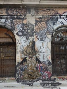 Artist : Swoon :ancienne gare Massena Paris 13/// very beautifull, very suited  to be in Paris.. enlarge this one.