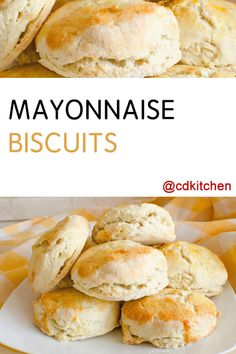 Hate dry crumbly biscuits Then you ll love this recipe that uses mayonnaise to help bind the ingredients and keep the biscuits from being dry Perfect biscuits every time Quick Biscuits, Easy Homemade Biscuits, Biscuit Recipe Using Mayonnaise, Easy Biscuit Recipe Without Milk, Easy Biscuit Recipe 3 Ingredients, Quick Biscuit Recipe, Buttermilk Biscuits, All Purpose Flour Recipes, Food Cakes