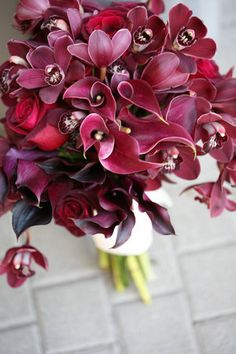 Orange, Wedding, Burgundy, Bridal bouquet, Fred segal, Deep red