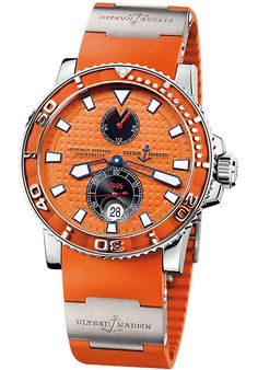 Price:$5616.00 #watches Ulysse Nardin 263-33-3-97, Colorful orange incarnation of the classic Maxi Marine Diver by Ulysse Nardin