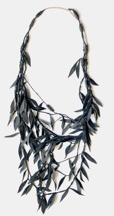 Leather Necklace - Collier branche saule / UPCYCLED cuir - by DesignsQuish (US) http://blog.designsquish.com