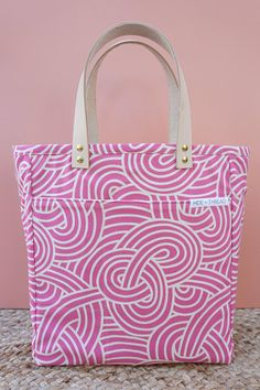 The Minimal Nappy Tote: White Knots on Pink