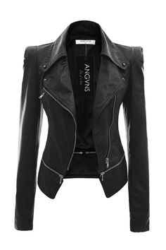 Women's Faux Leather Jacket: I've been keeping my eyes out for a nice lather jacket and I love this one! Not too crazy with zippers and stuff and looks like it's a nice fit. Leather Jacket Outfits, Faux Leather Jackets, Men's Leather, Custom Leather, Real Leather, Look Blazer, Jackets For Women, Clothes For Women, Jacket Style