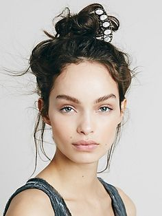 Quintet Stone Hair Pick | Ornate metal hair mick with five-stone design. *By Free People