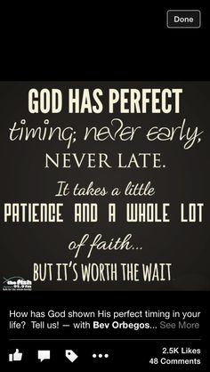 God has perfect timing.
