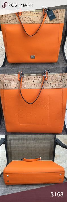 Ralph Lauren Orange Hanway Cork Tote Ralph Lauren Hanway Cork Tote in orange.  Inside features one large slip pocket. Outside features chunky silver chain link on handles and silver logo emblem on the front. Great summer tote to use as a handbag, work tote or carry-on! Ralph Lauren Bags Totes