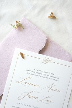 Fall wedding invitation design featuring gold foil and classic calligraphy | illustration, luxurious, elegant, traditional, illustration, botanical, leaf, mauve, dusty purple, dusty rose, dusty pink, ivory, cotton paper, stationery, invite, envelopes, save the date