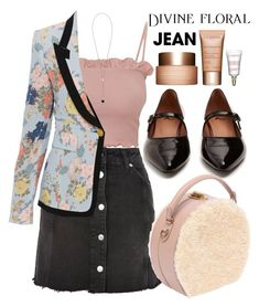 """""""Everyday Outfit: Denim Skirt"""" by cordelia-fortuna ❤ liked on Polyvore featuring Topshop, AlexaChung, Bertoni, Smythe, Skagen, Clarins and denimskirts"""