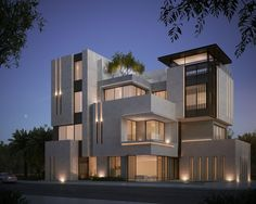 private villa 500 m kuwait sarah sadeq architects Vertical lighting Villa Design, Facade Design, Exterior Design, Facade Architecture, Residential Architecture, Contemporary Architecture, House Front Design, Modern House Design, Facade House