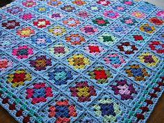 Ganchillo afgano manta grande azul abuela cuadrados 50 x 50