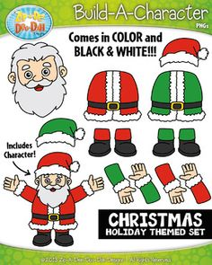 Santa Claus Christmas Themed Build-A-Character Clipart Set  Includes 25+ Graphics!This Christmas holiday themed character is SANTA CLAUS and you will receive BOTH red and green characters. You will receive 26 clipart graphics that were hand drawn by myself  15 Colored Graphics and 9 B/W Outlined Graphics.