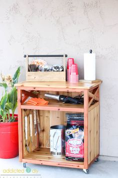 Build this DIY BBQ Accessory Cart with these free plans and the step-by-step tutorial. Perfect for summer gatherings!