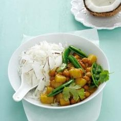 Chickpea curry with coconut rice - Ideas Veggie Recipes, Indian Food Recipes, Asian Recipes, Vegetarian Recipes, Healthy Recipes, Vegetarian Bake, Veggie Meals, Healthy Eats, Vegetarian Curry