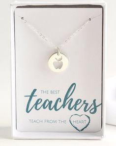Teacher Apple Sterling Silver Necklace. The best Teachers teach from the heart. Personalized Teacher Jewelry is a beautiful gift to represent gratitude for a special teacher.