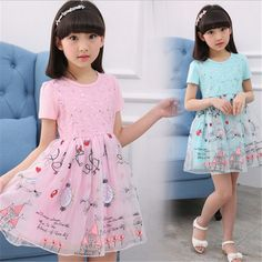 16.40$  Watch now - http://ali4g7.shopchina.info/go.php?t=32806566212 - novatx girl Embroidery house dress kids Sequins dress 2017 child clothes for girls pink blue summer dress new baby clothing  #SHOPPING