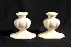 Vintage Pair Cowan Pottery Art Nouveau Ivory Candlesticks Candle Holders 1920s