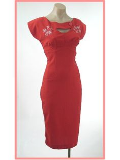 Bettie Page 50s Style Red Pencil Dress w/Silver Embroidered Accents