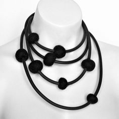Black felt necklace, modern rubber jewellery by frank ideas