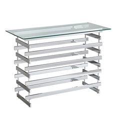 Boston Loft Furnishings ATG3737 Caxton Chrome and Glass Console Table