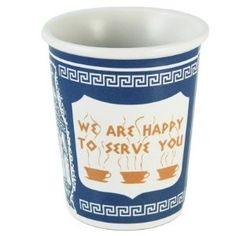 This is the nostalgic Greek design of the to-go cup made famous in NYC in 1963. Which is now reusable ceramic.