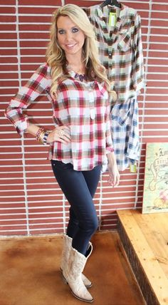 This sheer plaid shirt is perfect with cut off shorts and boots now, then layer it with a cozy sweater and jeans later!
