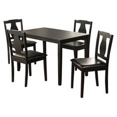5 Piece Kaylee Dining Set Wood/Black - TMS : Target