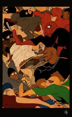 Daredevil, Spider-Man, Luke Cage and Iron Fist by RETDIS