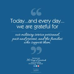 Today, and every day, we are grateful for our military service personnel, past and present, and the families who support them. #LH30Days #Gratitude #VeteransDay #USA