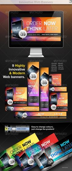 Innovative Web Banners by Emil_J Packet contains 9 high-quality graphic and artistic PSD files ready for your products and campaigns. Change colours and create you Web Design, Web Banner Design, Web Banners, Diy Banner, Banner Template, Banner Ideas, 404 Pages, Banner Drawing, Summer Banner