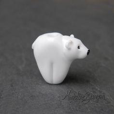 Reserved Polar Bear Lampwork Bead by MadelineBunyan on Etsy, £8.00
