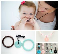 Teething necklace, great idea, I don't wear necklaces right now because I know it will be pulled off my neck!