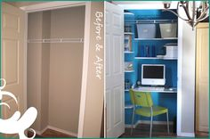 New Obsession: Totally bent on turning our old stinky coat closet into a makeshift office.